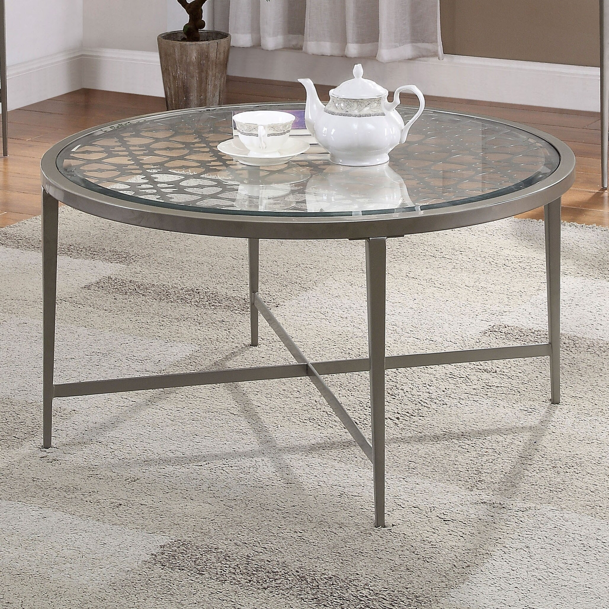 furniture of america fage contemporary silver glass top coffee table