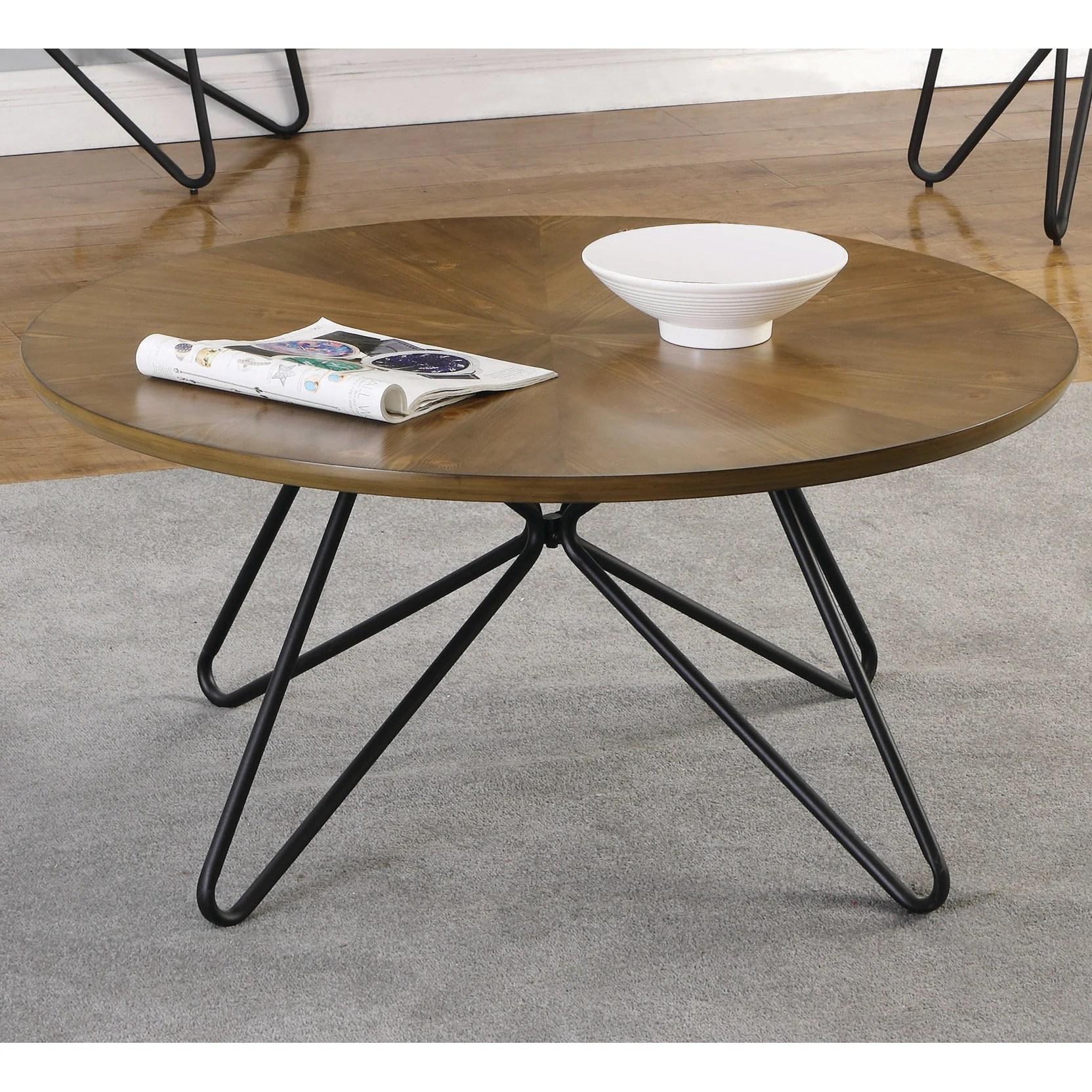 carson carrington hjulslatt dark brown and black round coffee table 18 x 38