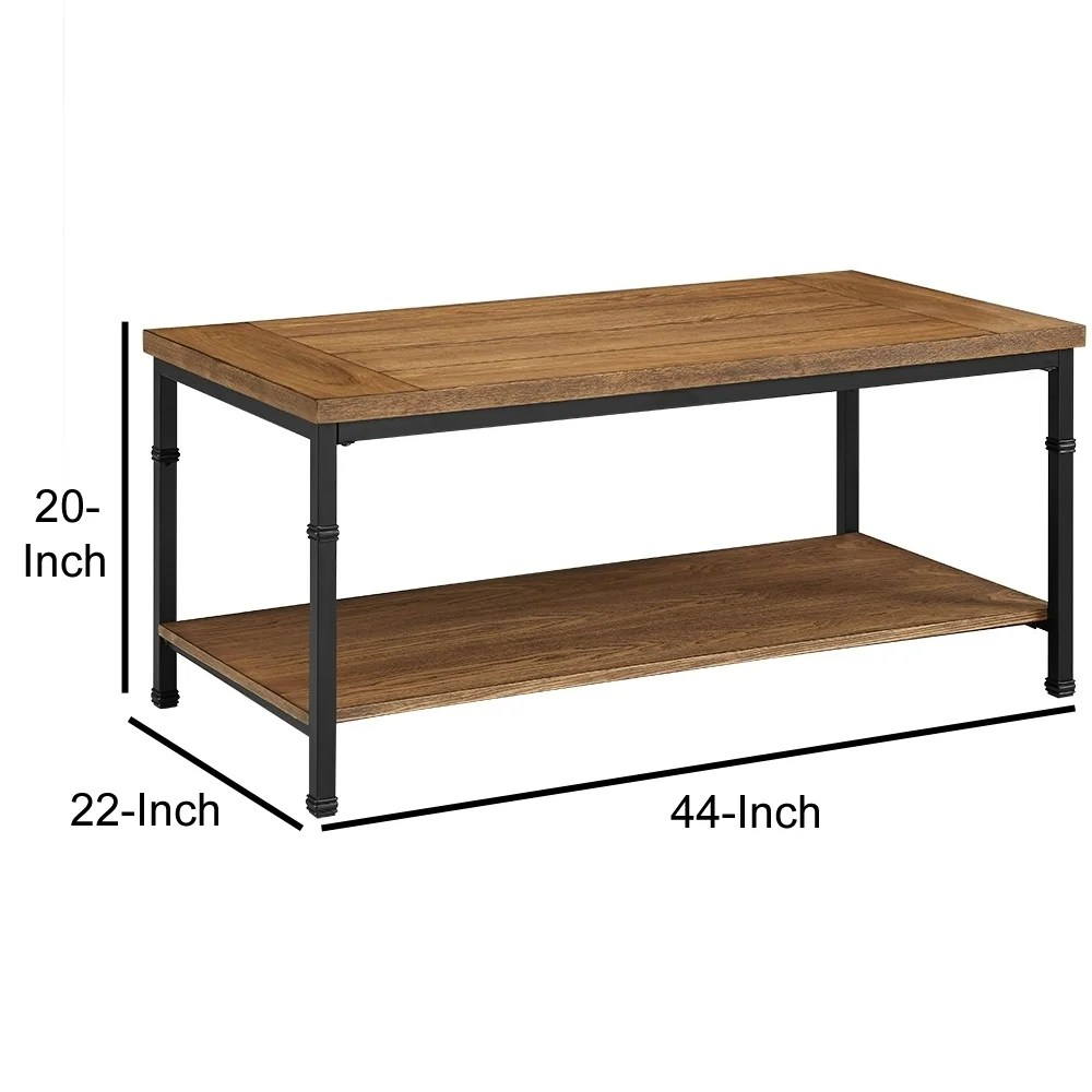 wooden coffee table with bottom shelf and metal legs brown and black