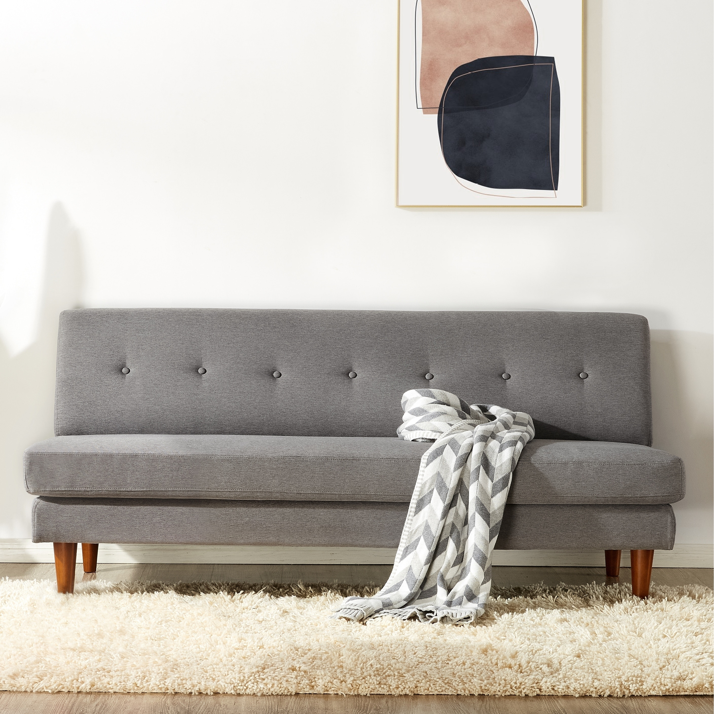 mette modern armless loveseat sofa couch tufted linen fabric classic grey crown comfort