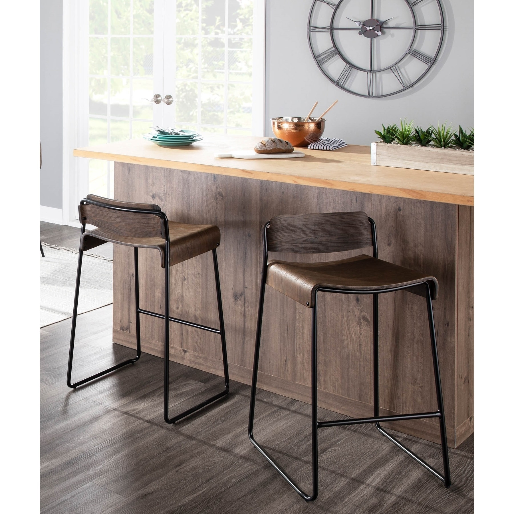 Dali Low Back Industrial Black Metal Espresso Wood Counter Stool Set Of 2 N A Overstock 29196935