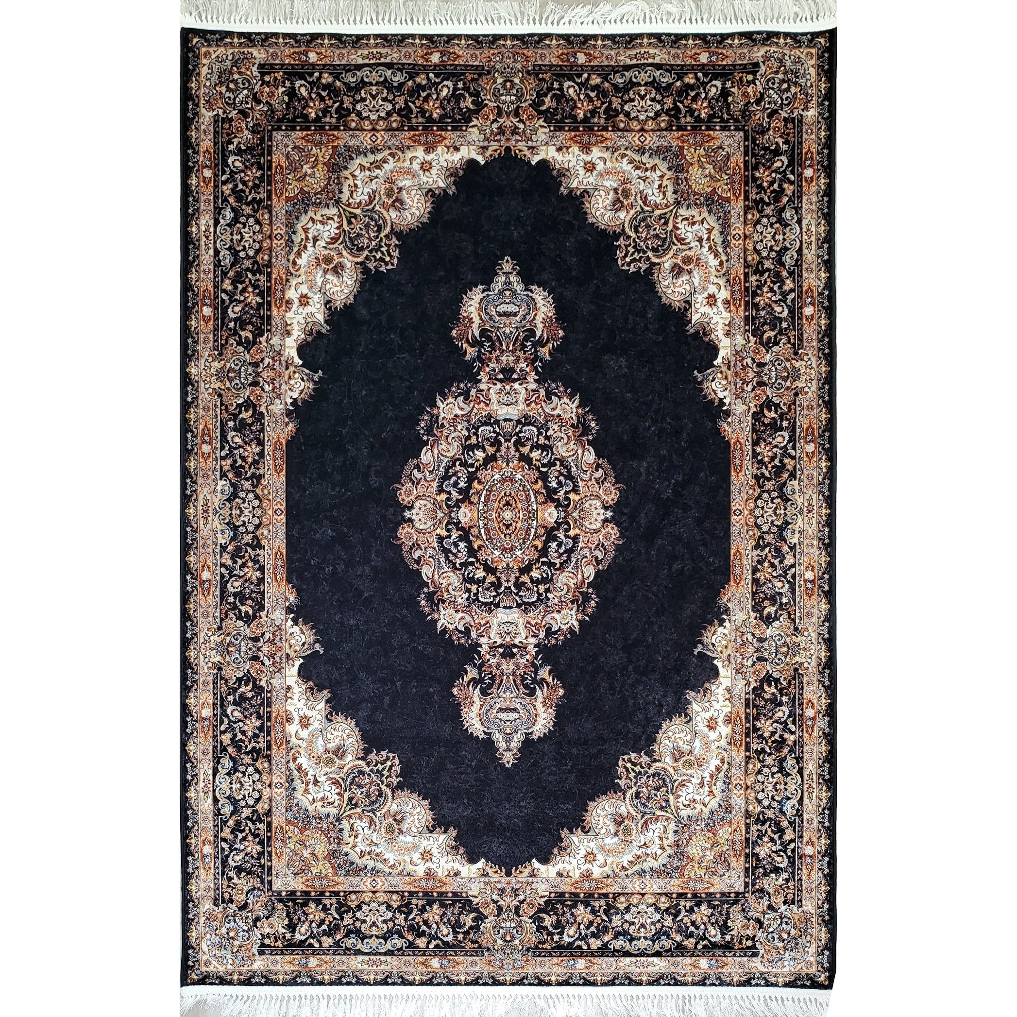 la dole rugs dark navy blue gold bordered royal traditional area rug carpet living room hallway patio sizes 5x7 8x10 7x9 feet