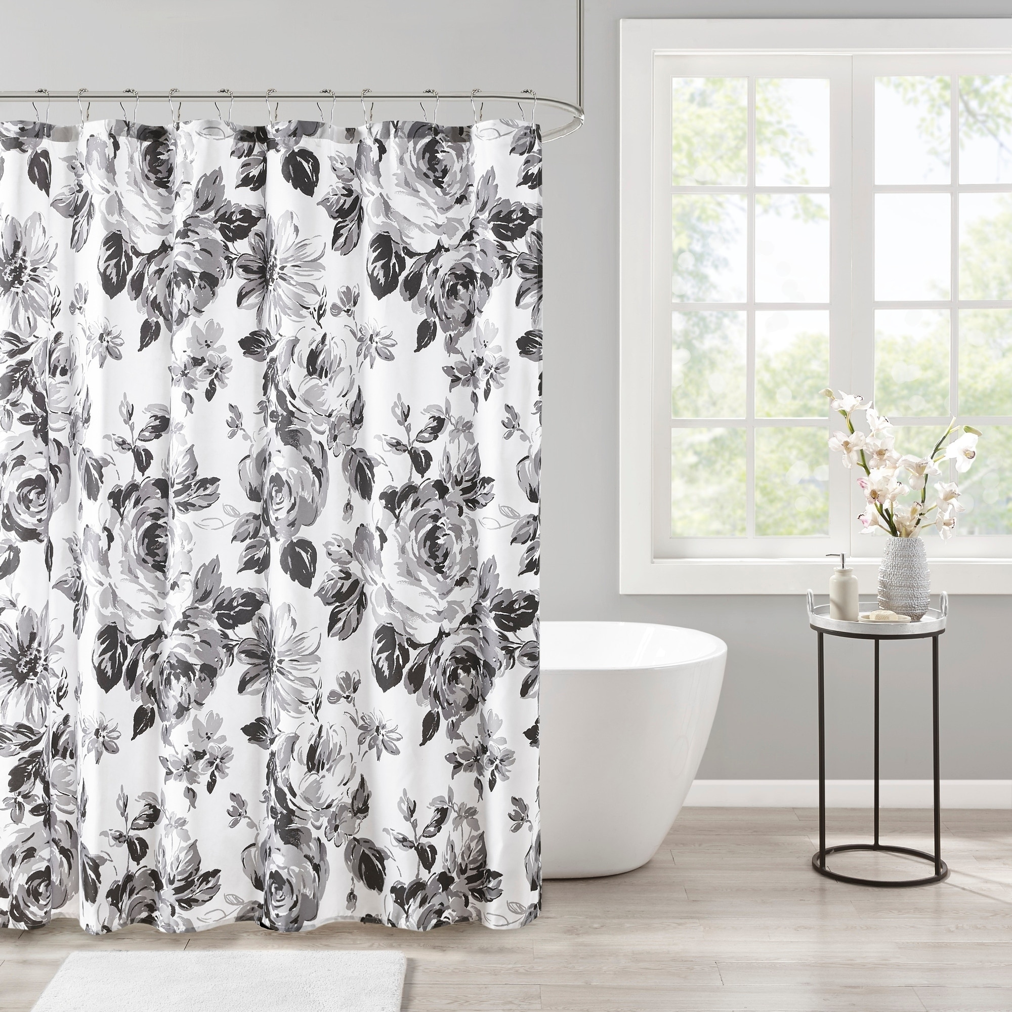 intelligent design renee black white floral printed shower curtain