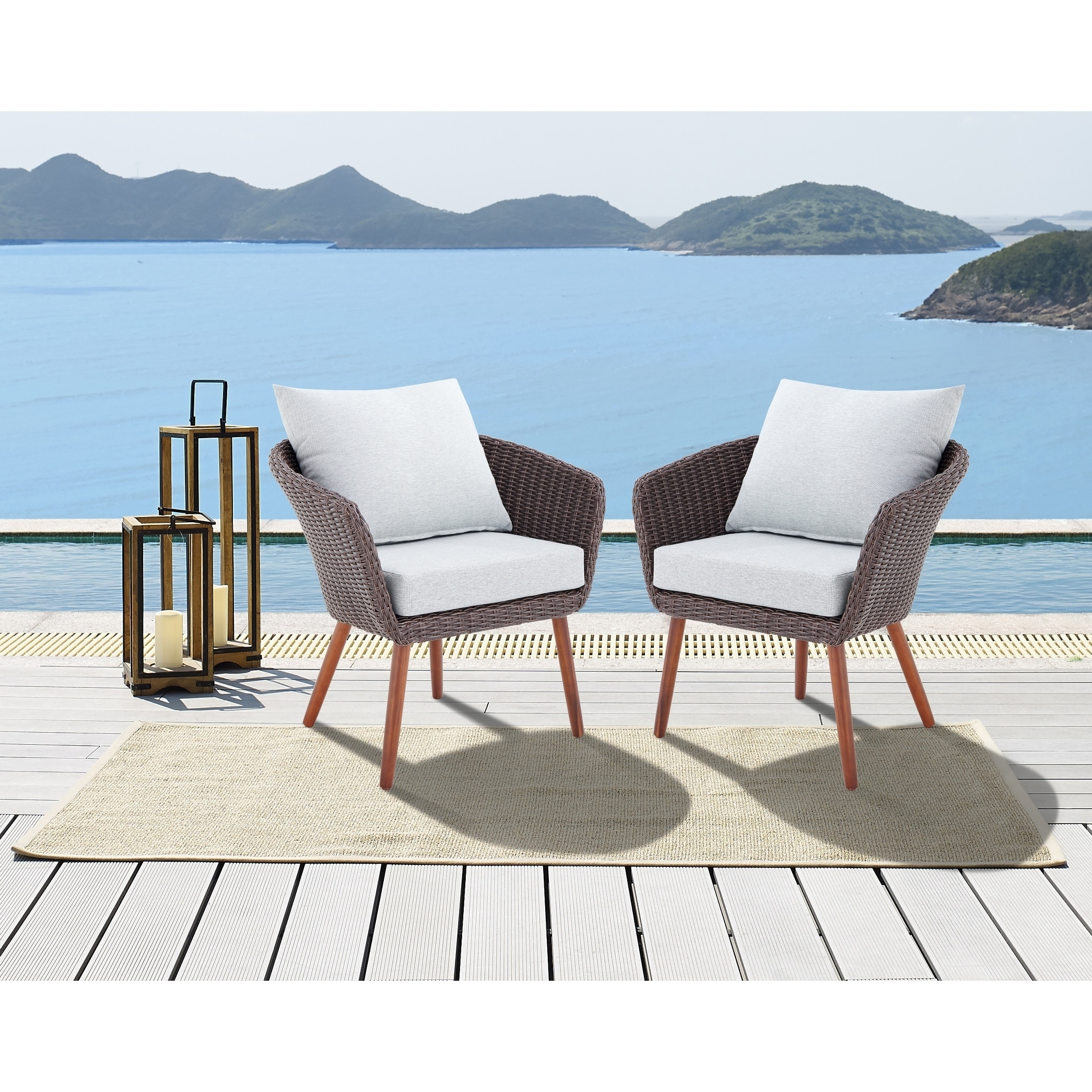caluma brown wicker chairs with cushions set of 2 by havenside home