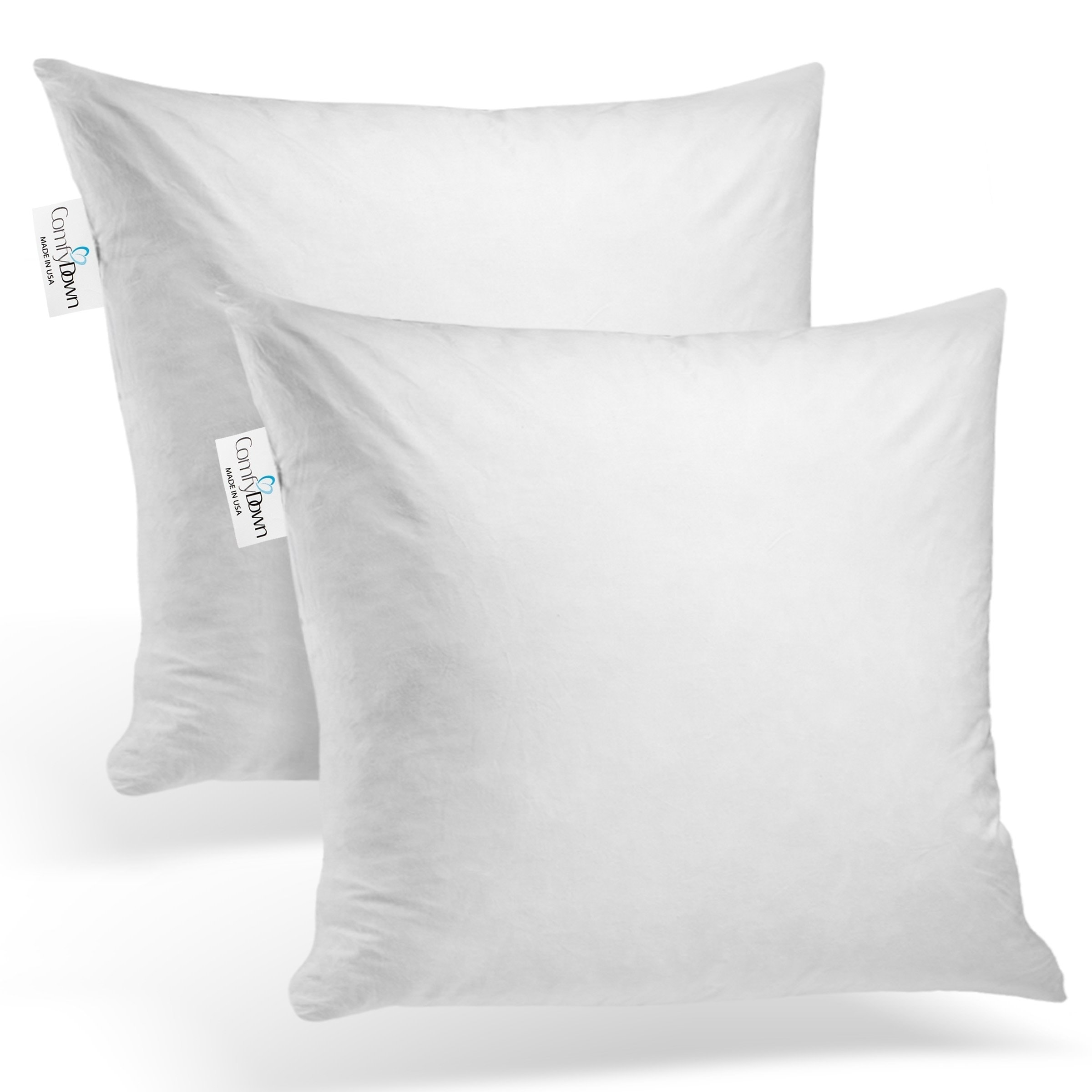comfydown set of two 95 feather 5 down square pillow insert