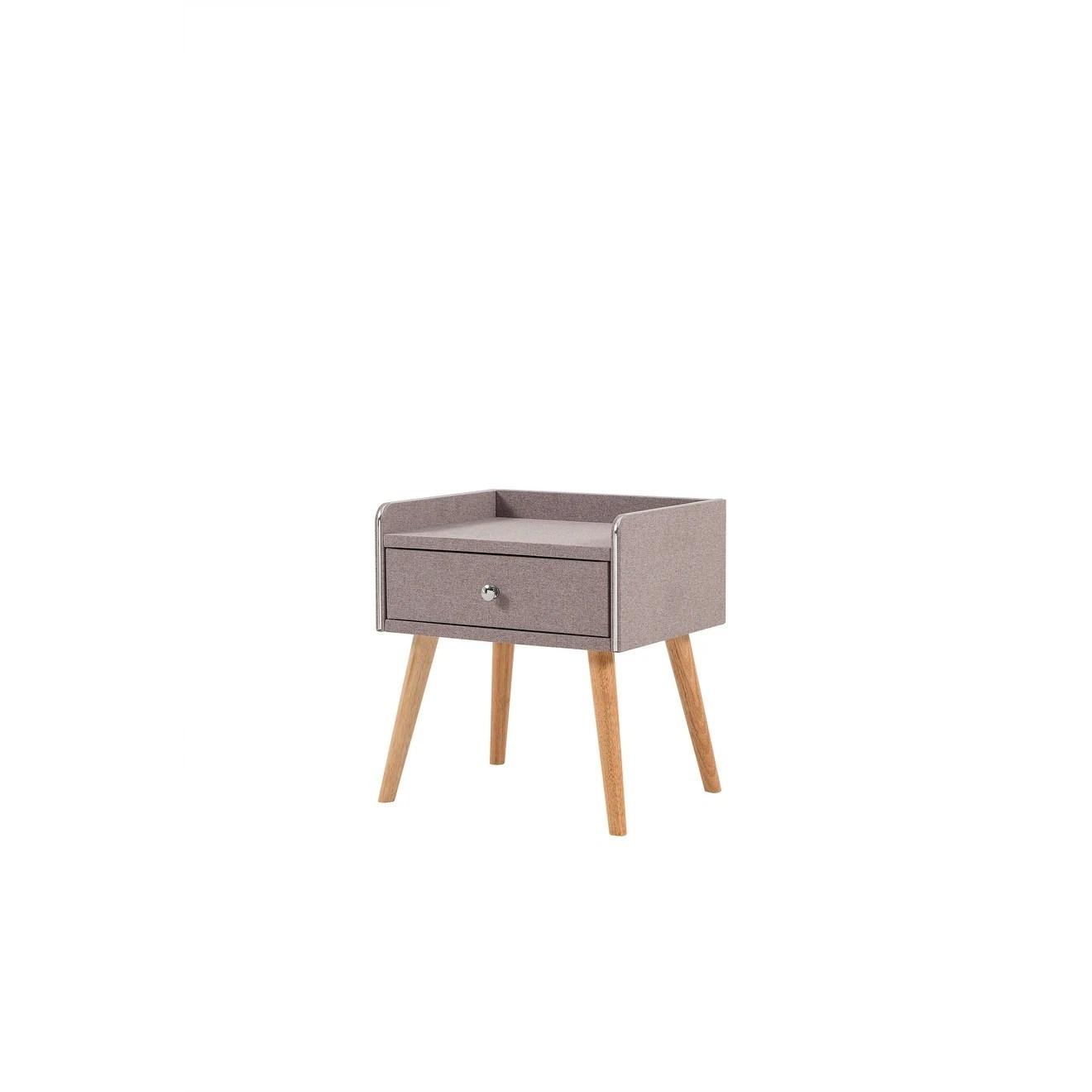 Mid Century Modern Purple Upholstered 1 Drawer Nightstand