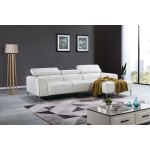 Modern White Leather Adjustable Headrest Chaise Sectional Sofa Overstock 29614157