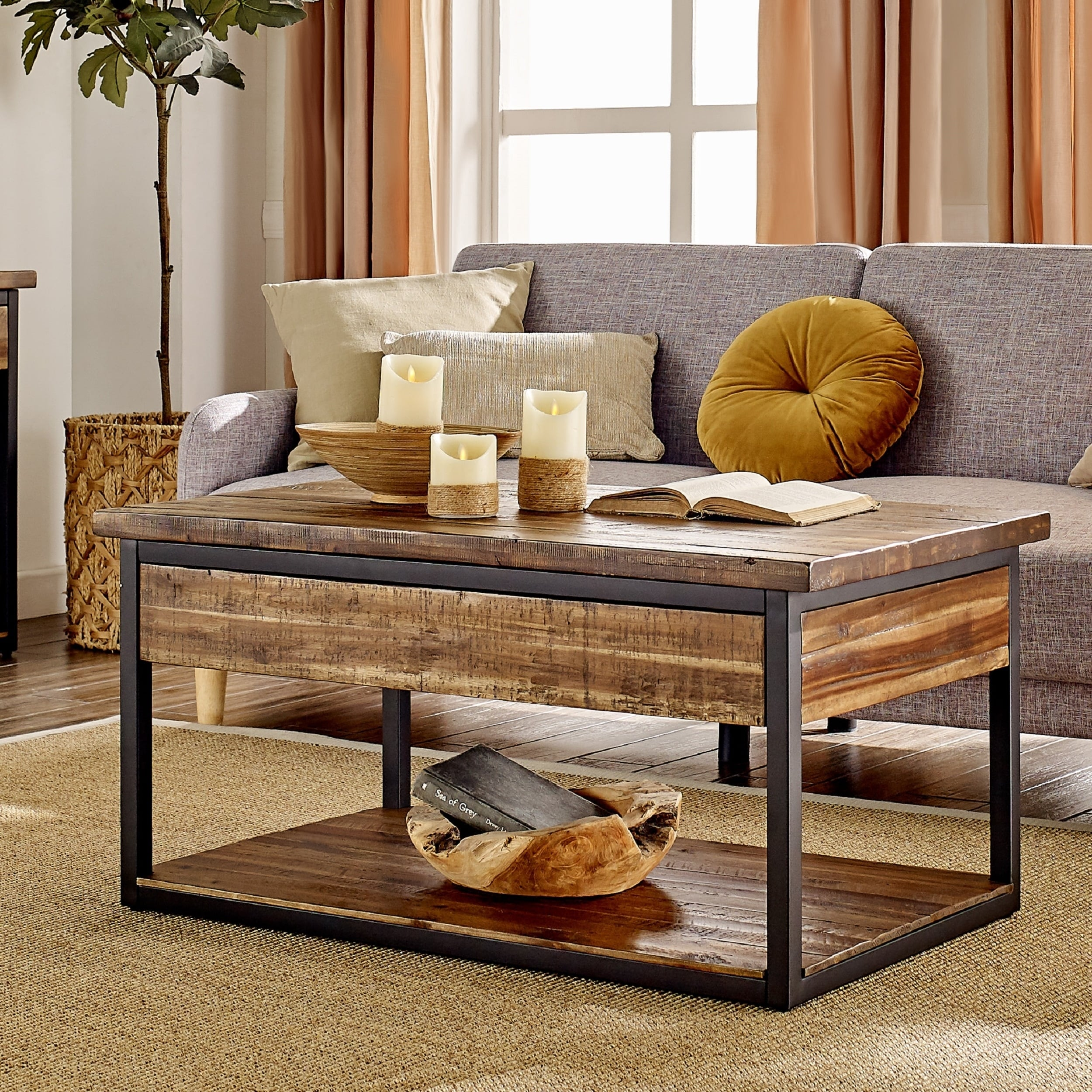 carbon loft ciaravino 42 inch rustic wood coffee table with low shelf