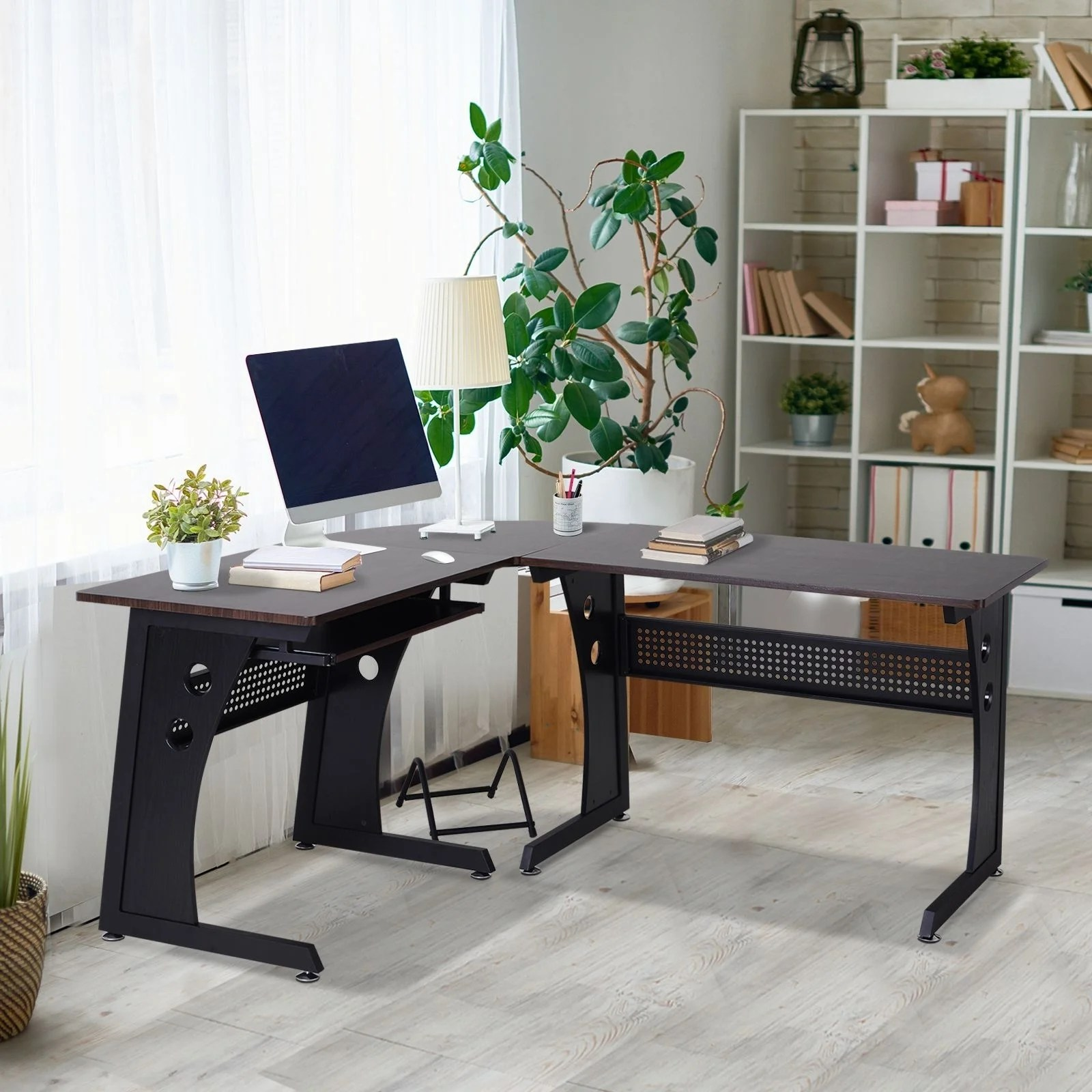Homcom L Shaped Corner Computer Office Desk Modern Workstation Wood Steel Brown And Black 65 L Overstock 29880390