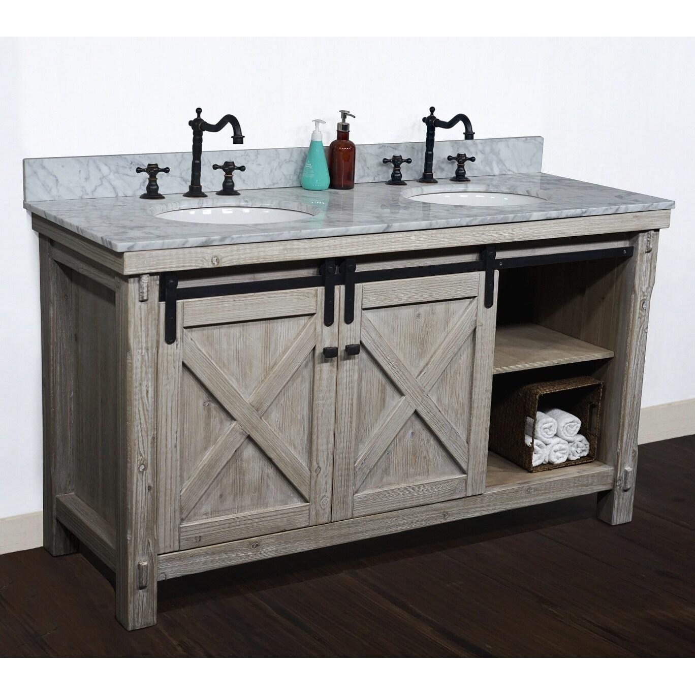 Shop 61 Rustic Solid Fir Barn Door Style Double Sink Vanites With Marble Or Granite Tops No Faucet Overstock 29882471