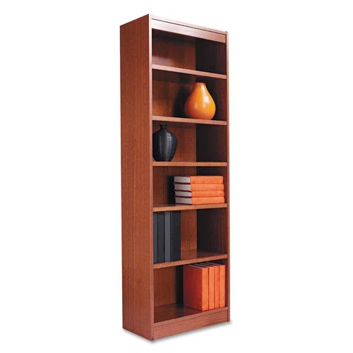 Alera 24inch Wide Wood Veneer Bookcase  Medium Oak