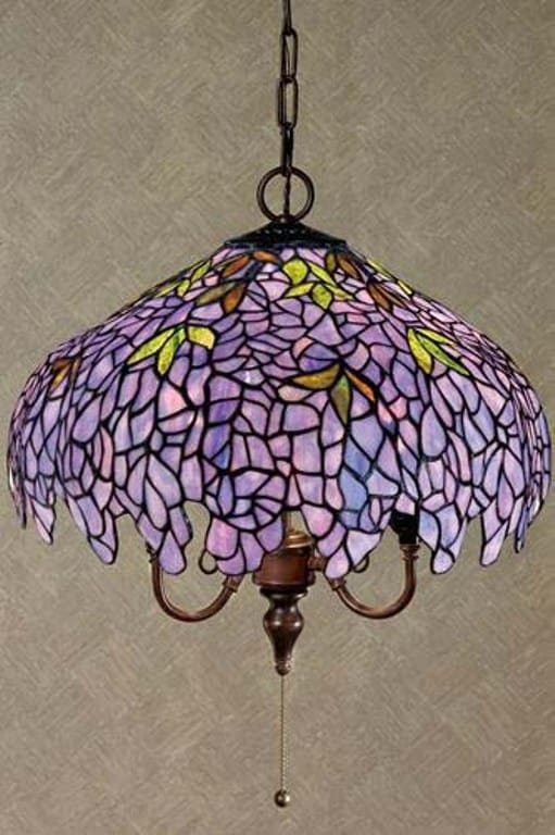 Tiffany Style Purple Stained Glass Hanging Lamp  Free