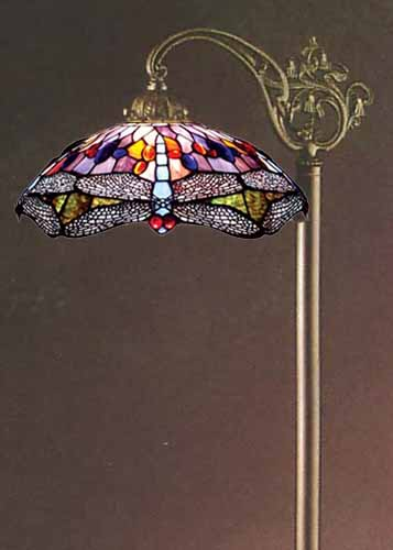 Tiffanystyle Stained Glass Floor Bridge Lamp  11188448
