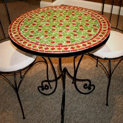 Teak Table And Chairs Garden Chair Reupholstery Cost [handmade] Mediterranean Round Mosaic (morocco) - Free Shipping Today Overstock.com ...