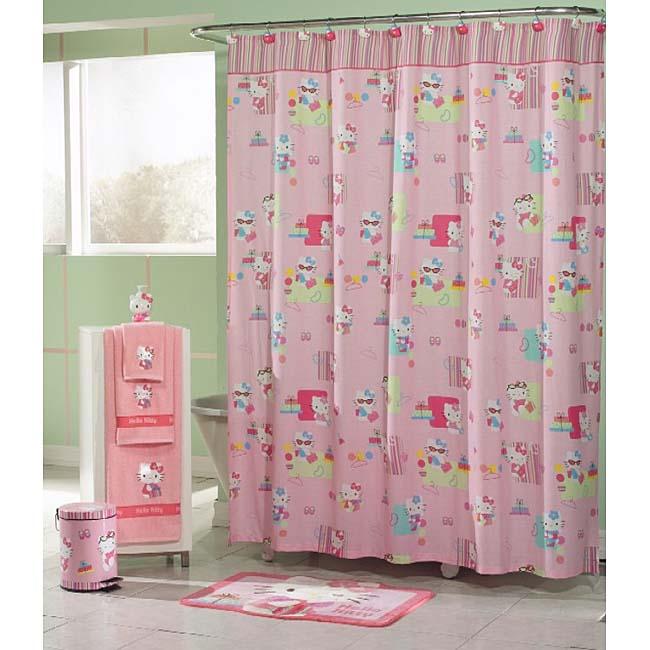 Hello Kitty Mod Shopper Pink Fabric Shower Curtain Free Shipping