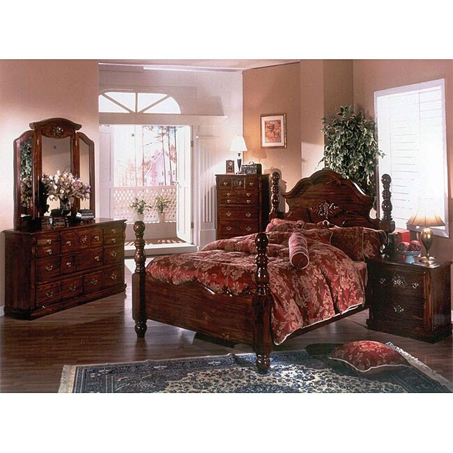 Cannonball Dark Pine 5piece King Bedroom Set  Free