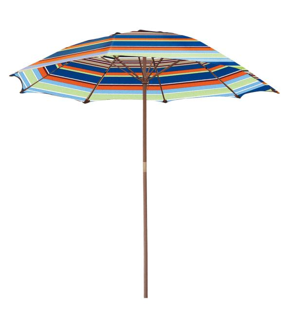Striped Wooden 6.5-ft. Patio Umbrella - Free Shipping