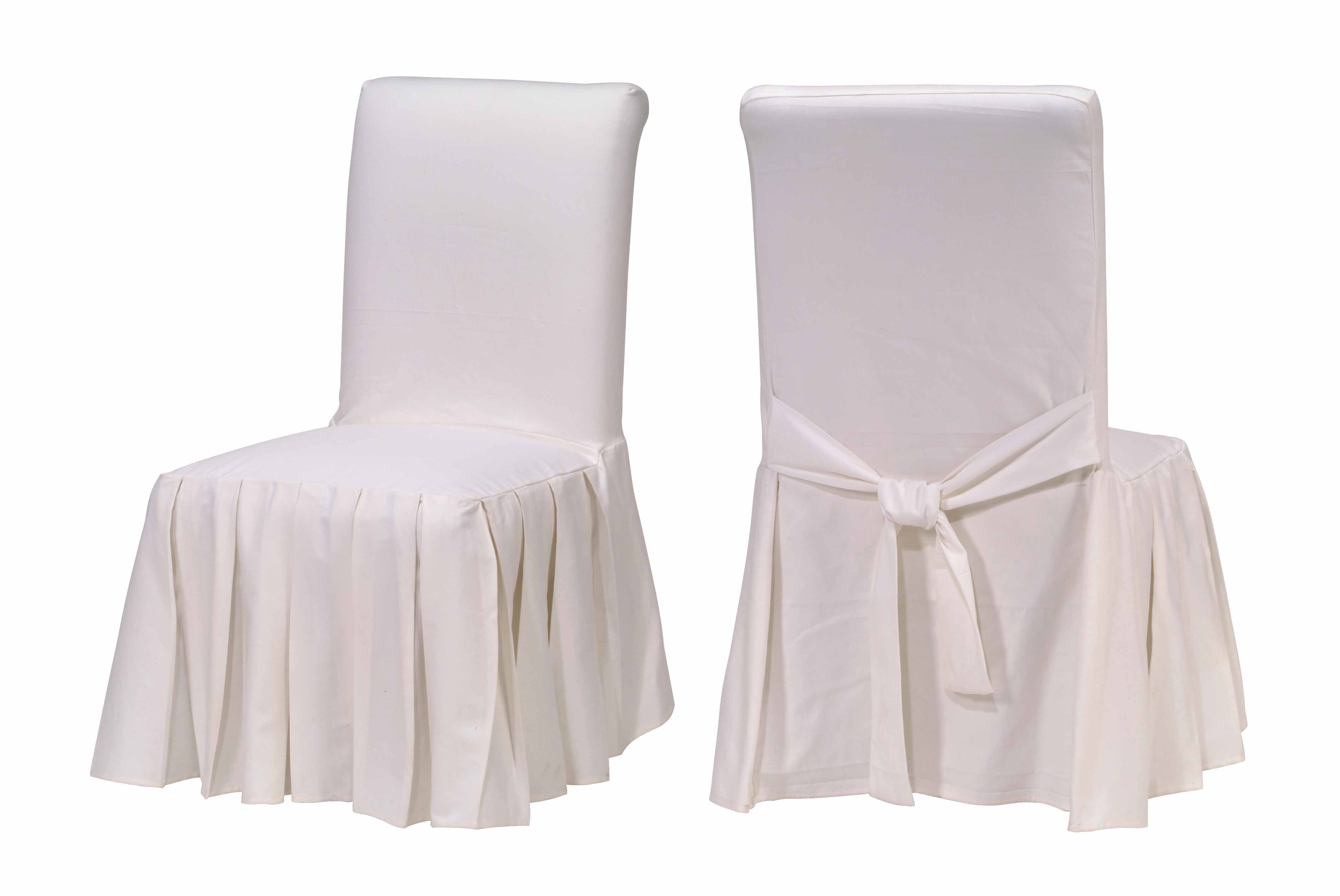 White Dining Chair Slipcovers Cotton Duck White Pleated Dining Chair Slipcovers
