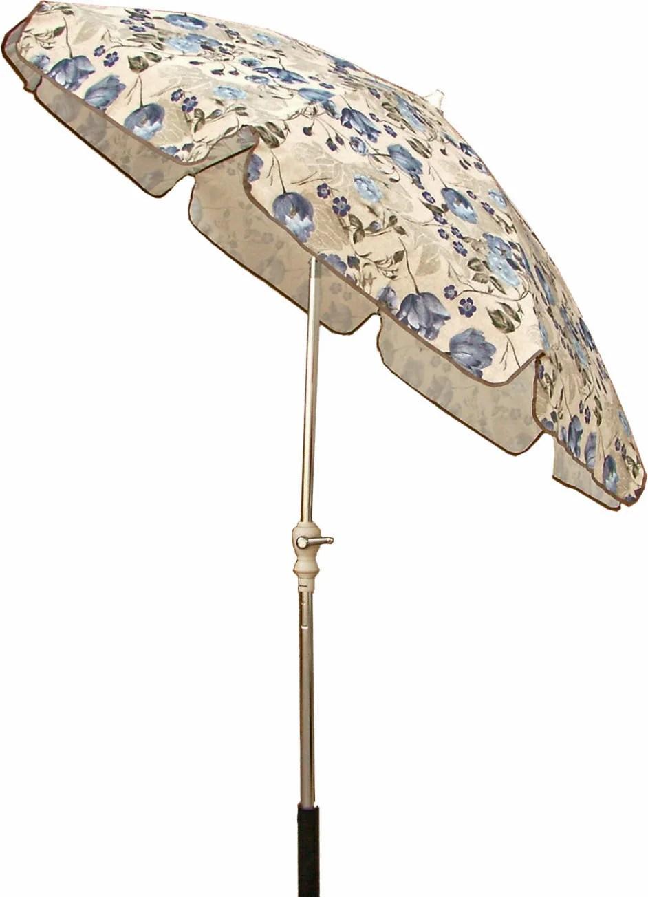 Blue Beige Floral 75foot Patio Umbrella  11298702