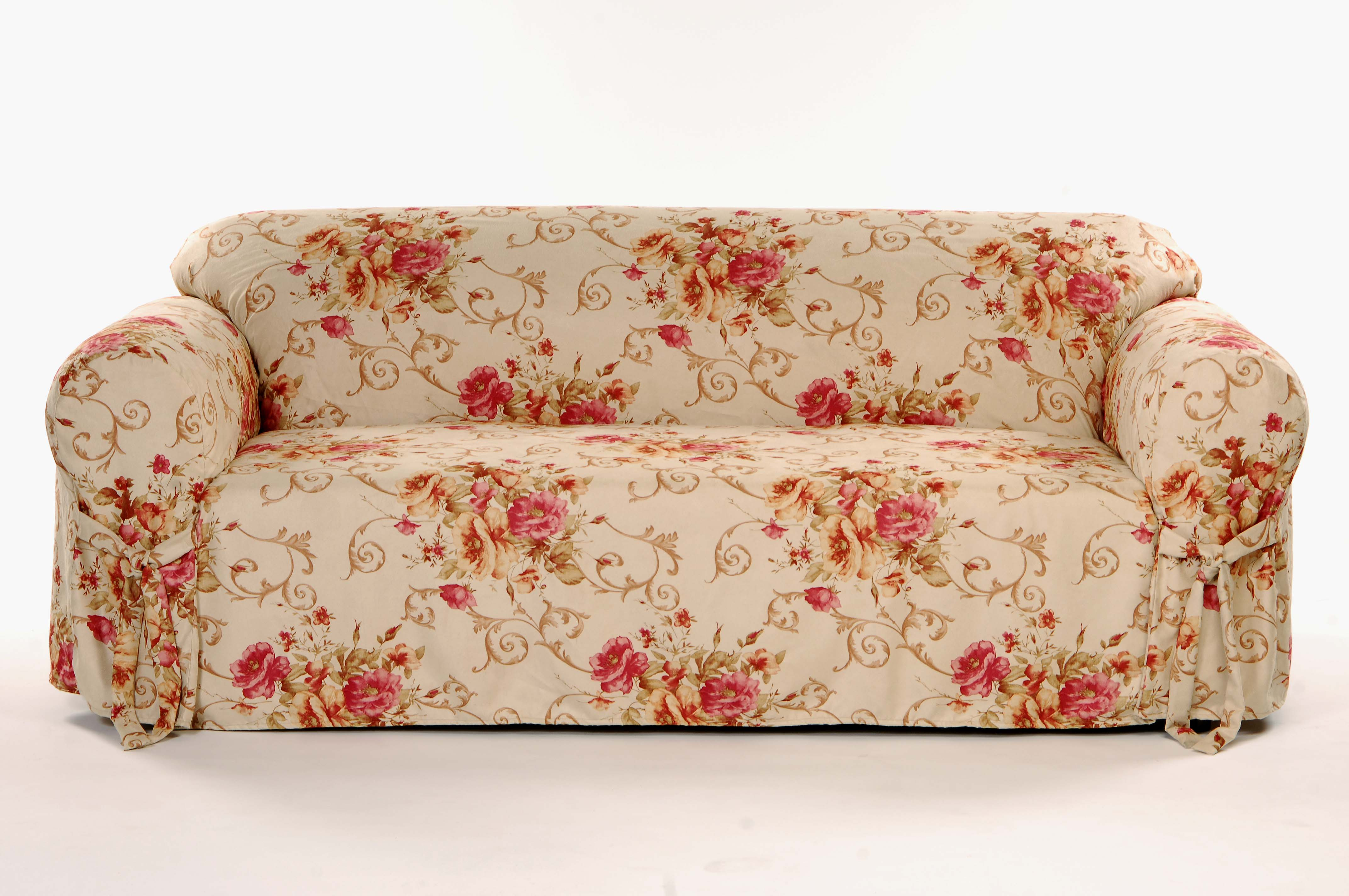 faux suede sofa slipcover low singapore bouquet floral free shipping