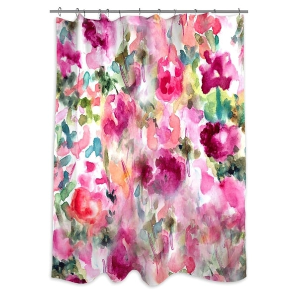 oliver gal in wonderful floral and botanical decorative shower curtain pink green