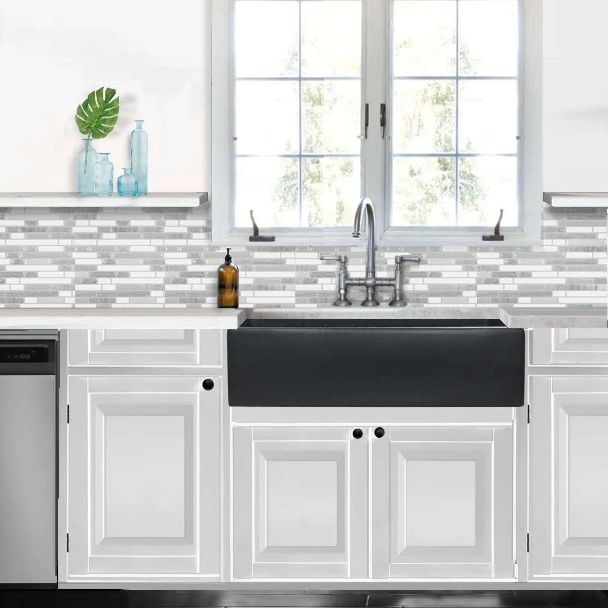 highpoint collection reversible 36 inch fireclay farmsink matte dark grey