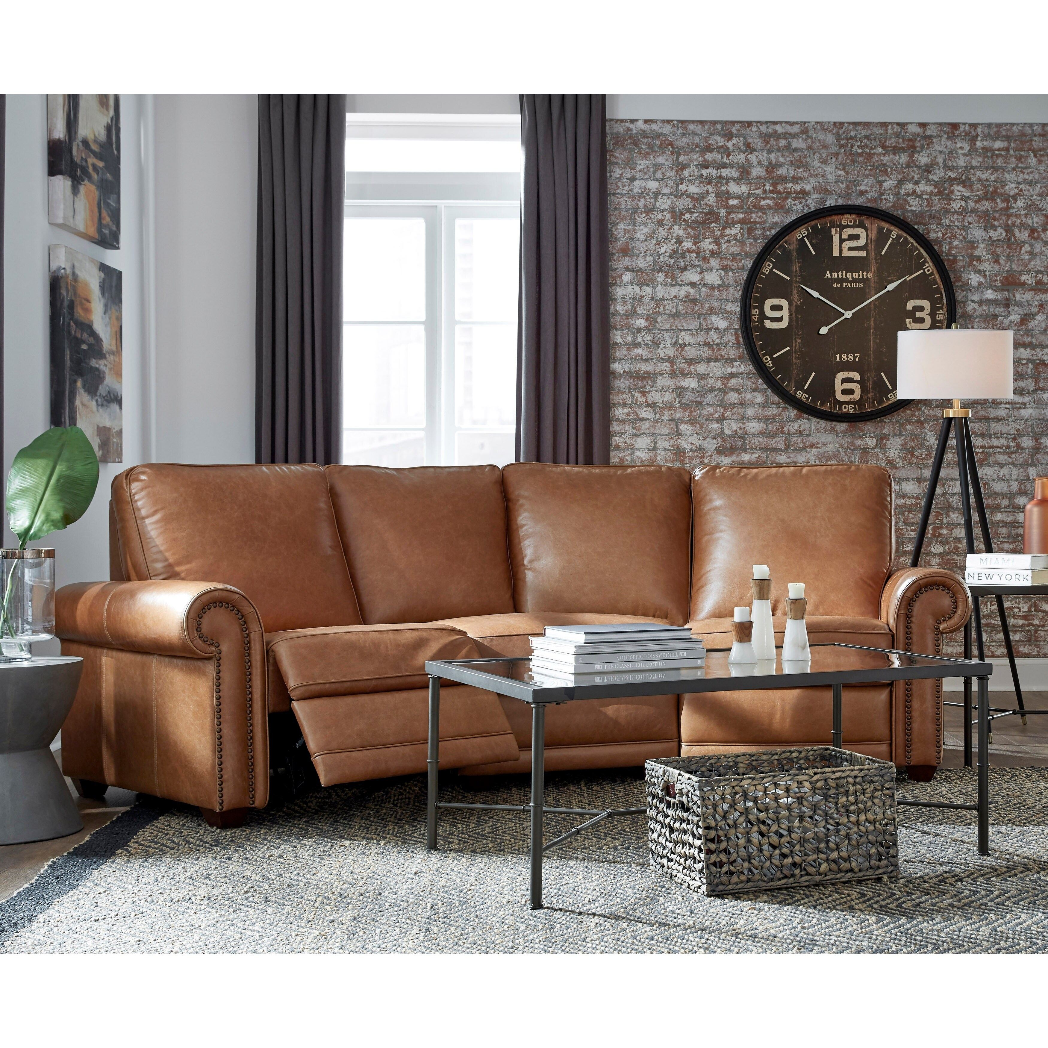Orly Distressed Brown Top Grain Leather Power Reclining Curved Sofa