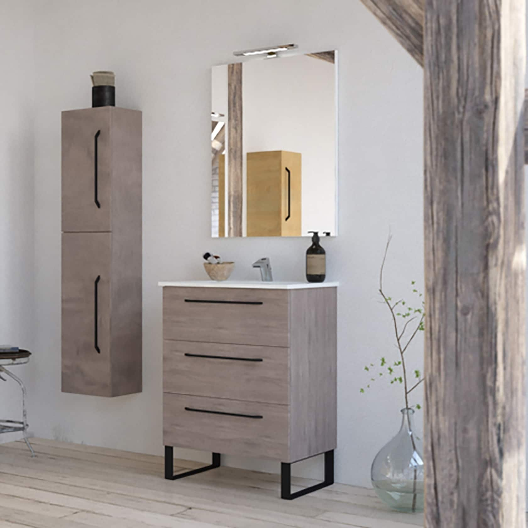 Shop 24 Modern Bathroom Vanity Set Dakota Chicago Grey Oak Wood Chrome Black Handles And Legs On Sale Overstock 30328577 Brown Silver Oak Finish
