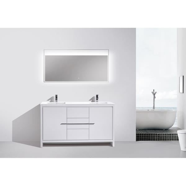 Double Sink High Gloss White Dolce 60 Freestanding Modern Bathroom Vanity With White Quartz Counter Top Tools Home Improvement Bathroom Vanities