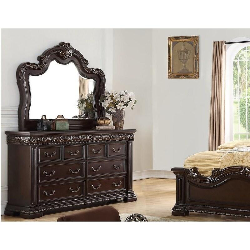 best master furniture dark cherry 6 drawer bedroom dresser and mirror