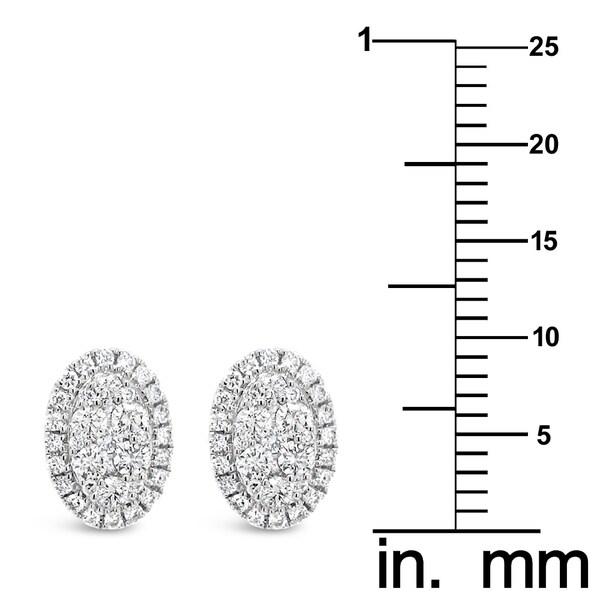 18k White Gold 1/2ct TDW White Diamond Oval Shape Cluster