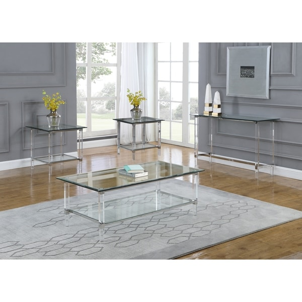 best quality furniture 4 piece coffee table set with rectangle clear glass top and acrylic legs