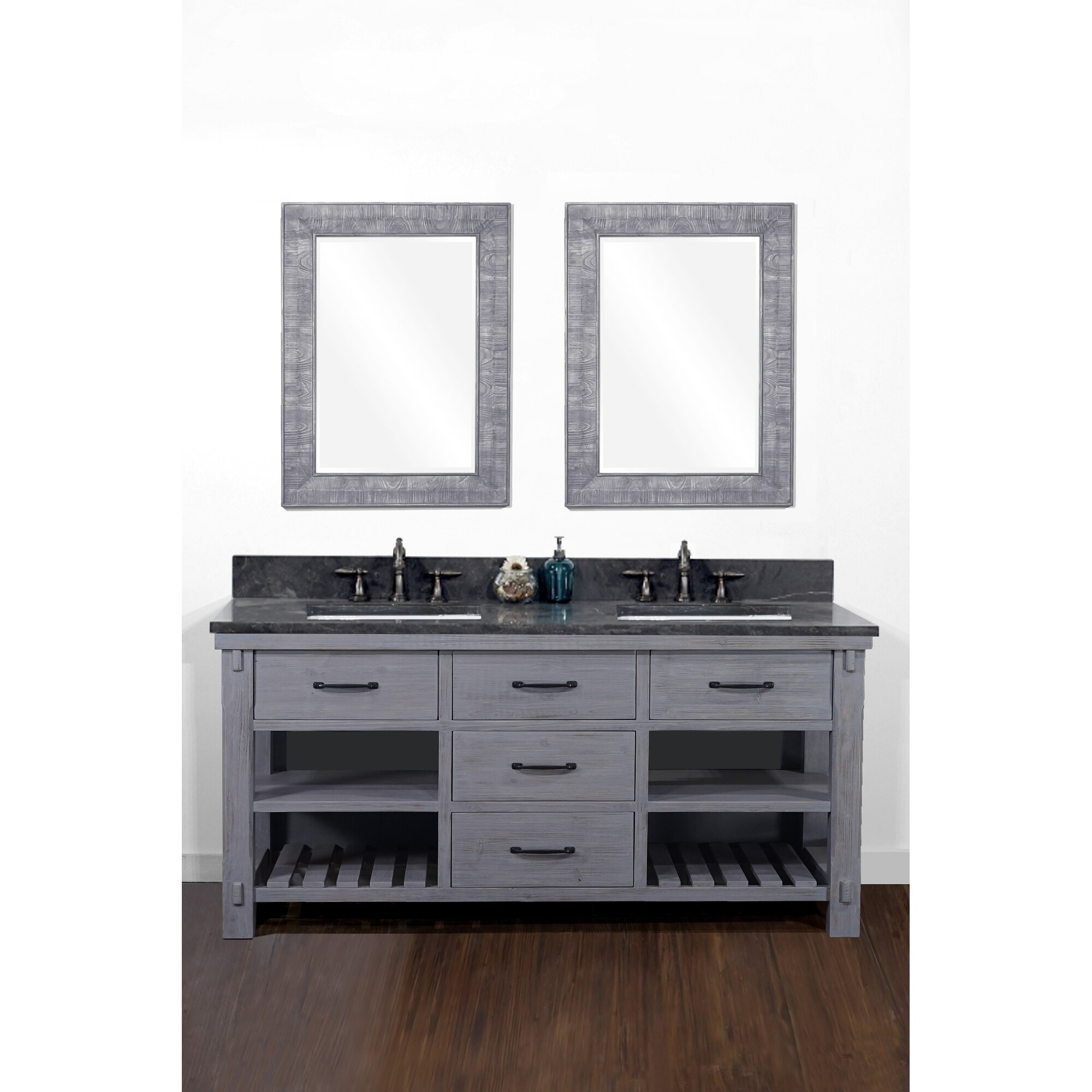 Shop 60 Rustic Solid Fir Double Sink Vanity In Blue Grey Driftwood Finish With Marble Top No Faucet Overstock 30510565 Rectangle Artic Pearl Marble