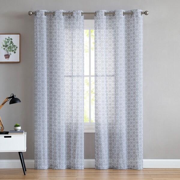 vcny home chole puff printing geometric sheer curtain panel pair 38 x 84