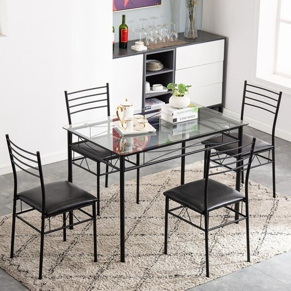 Zimtown Sakn 5 Piece Iron And Glass Dining Set On Sale Overstock 30546660
