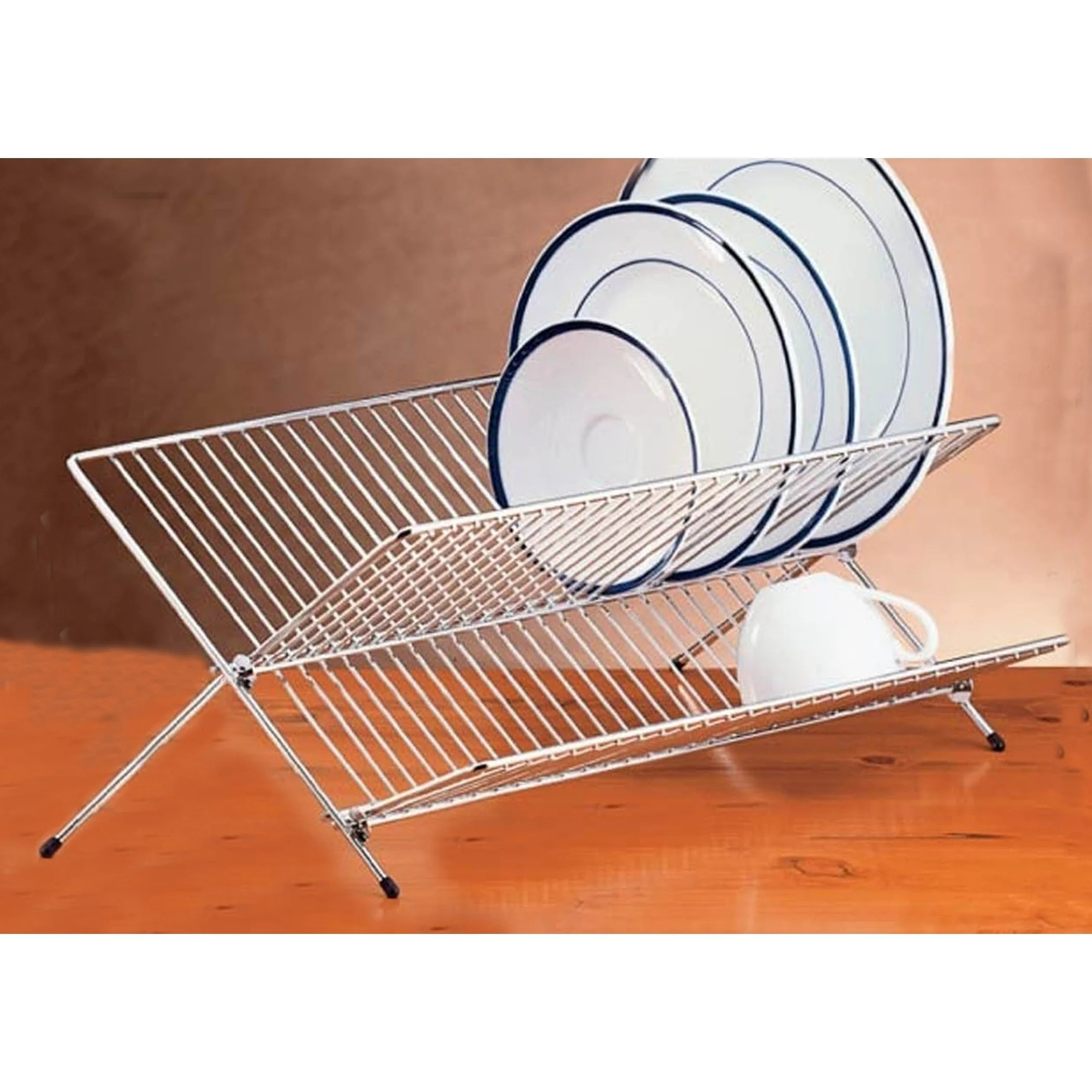 creative home chrome plated heavy gauge stainless steel folding dish rack