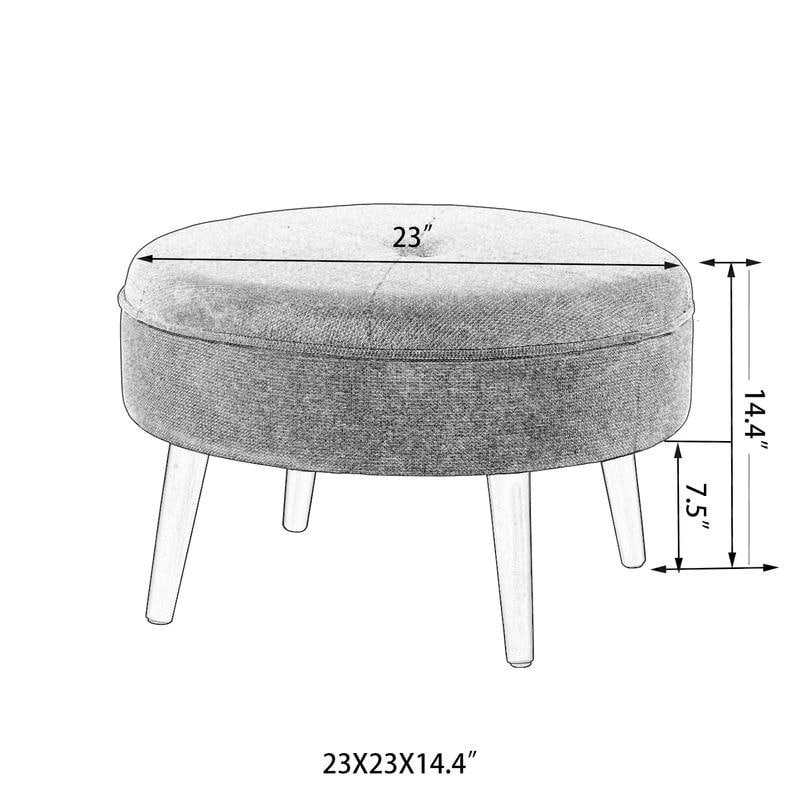 adeco single buttontufted small cocktail ottoman