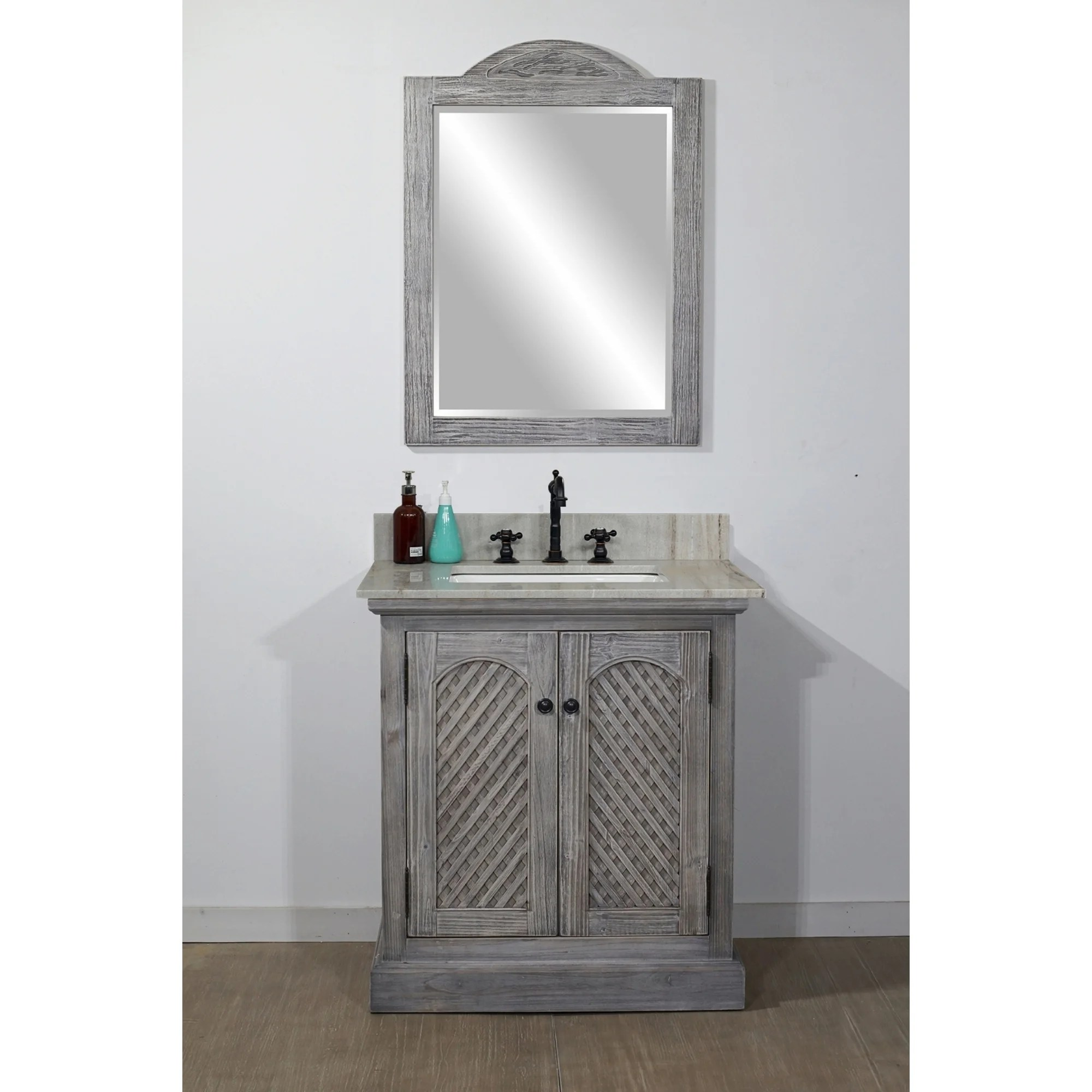 rustic style 31 inch single sink bathroom vanity with coastal sand marble top no faucet