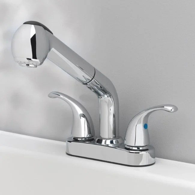 oakbrook essentials pull out laundry two handle chrome pull out kitchen faucet