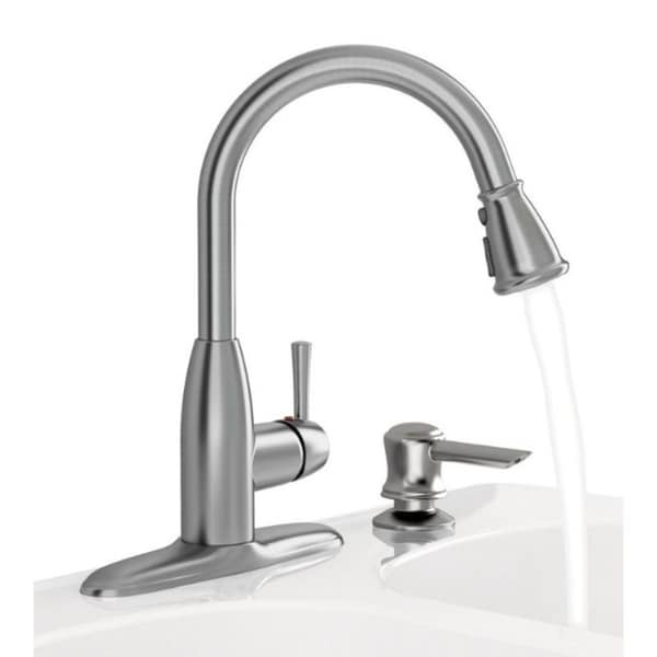 american standard mckenzie one handle stainless steel pull out kitchen faucet side sprayer included