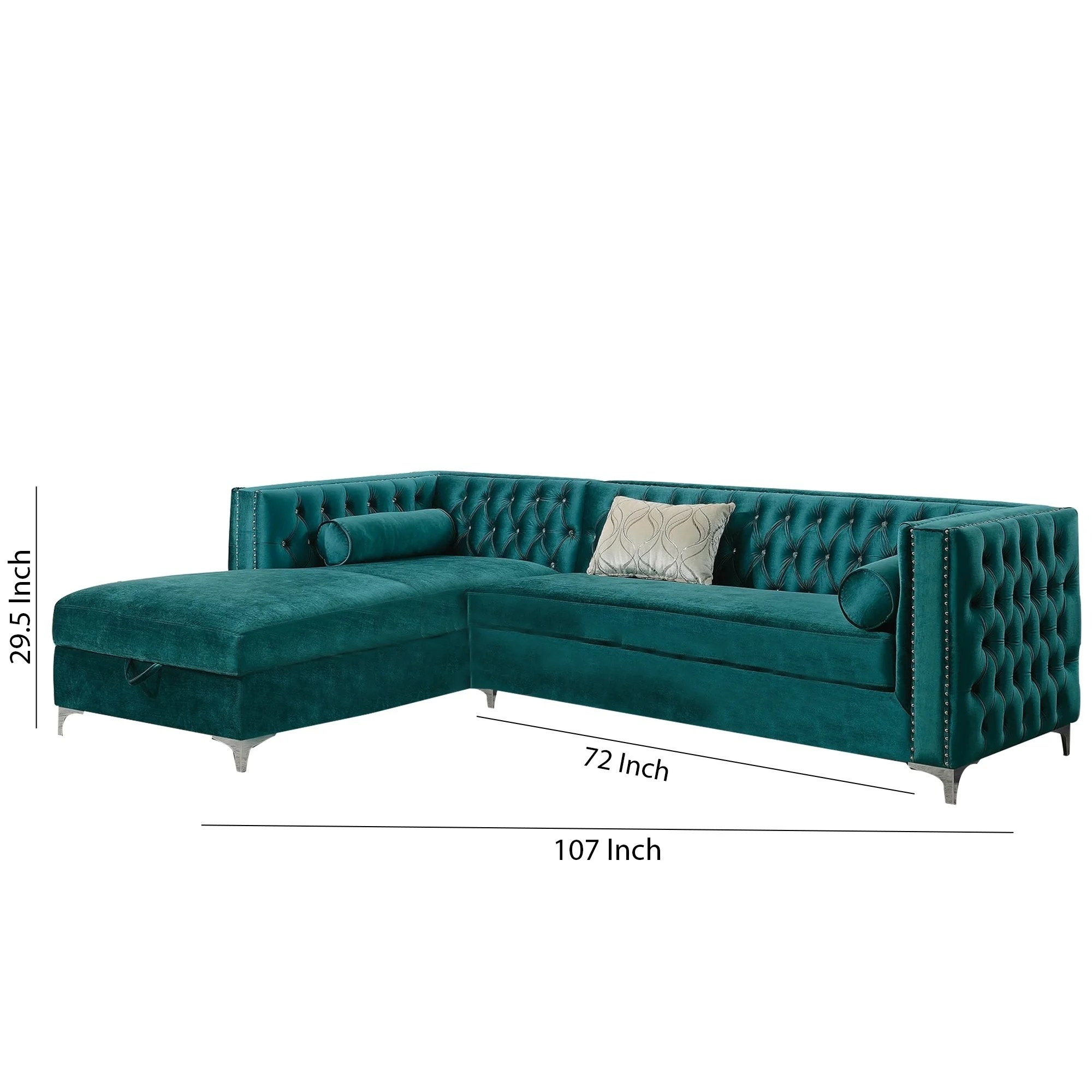 velvet upholstered 2 piece sectional sofa with tufted details teal blue