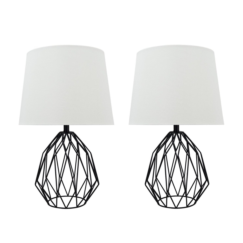 Shop Black Friday Deals On Aspen Creative 22 Matte Black Metal Wire Table Lamp Set Of 2 Overstock 30681286