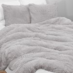 Sweet Jojo Designs Grey Boho Faux Fur 3pc Queen Size Duvet Comforter Cover Bedding Set Gray Fuzzy Plush Shaggy Fluffy Luxury Overstock 30687136