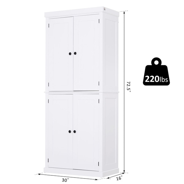 Homcom Traditional Farmhouse Freestanding Cupboard Kitchen Pantry With Two Storage Areas Adjustable Shelving Overstock 30696790 White