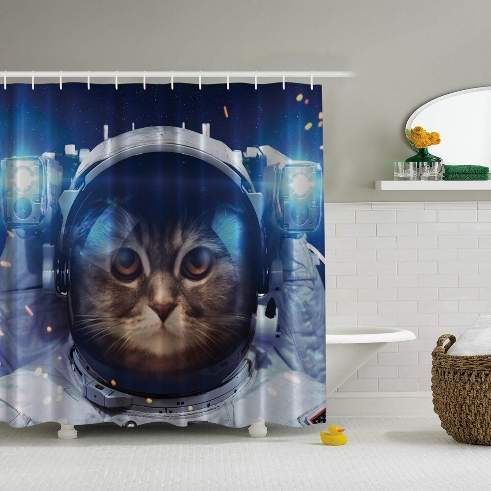 polyester shower curtain with hooks space cat 70 x 70