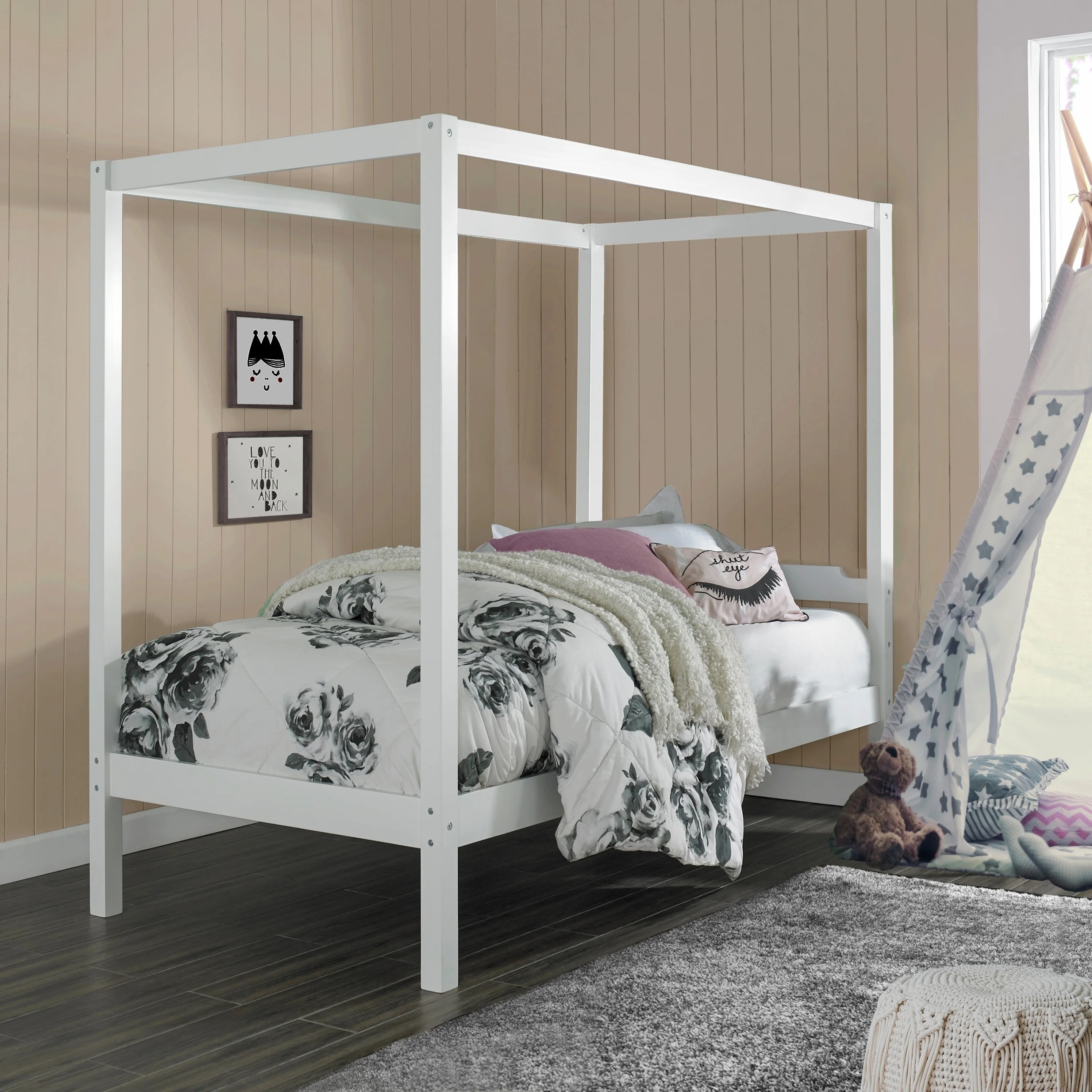 Porch Den Neville Wood Twin Size Canopy Bed Overstock 30773060 Gray Twin