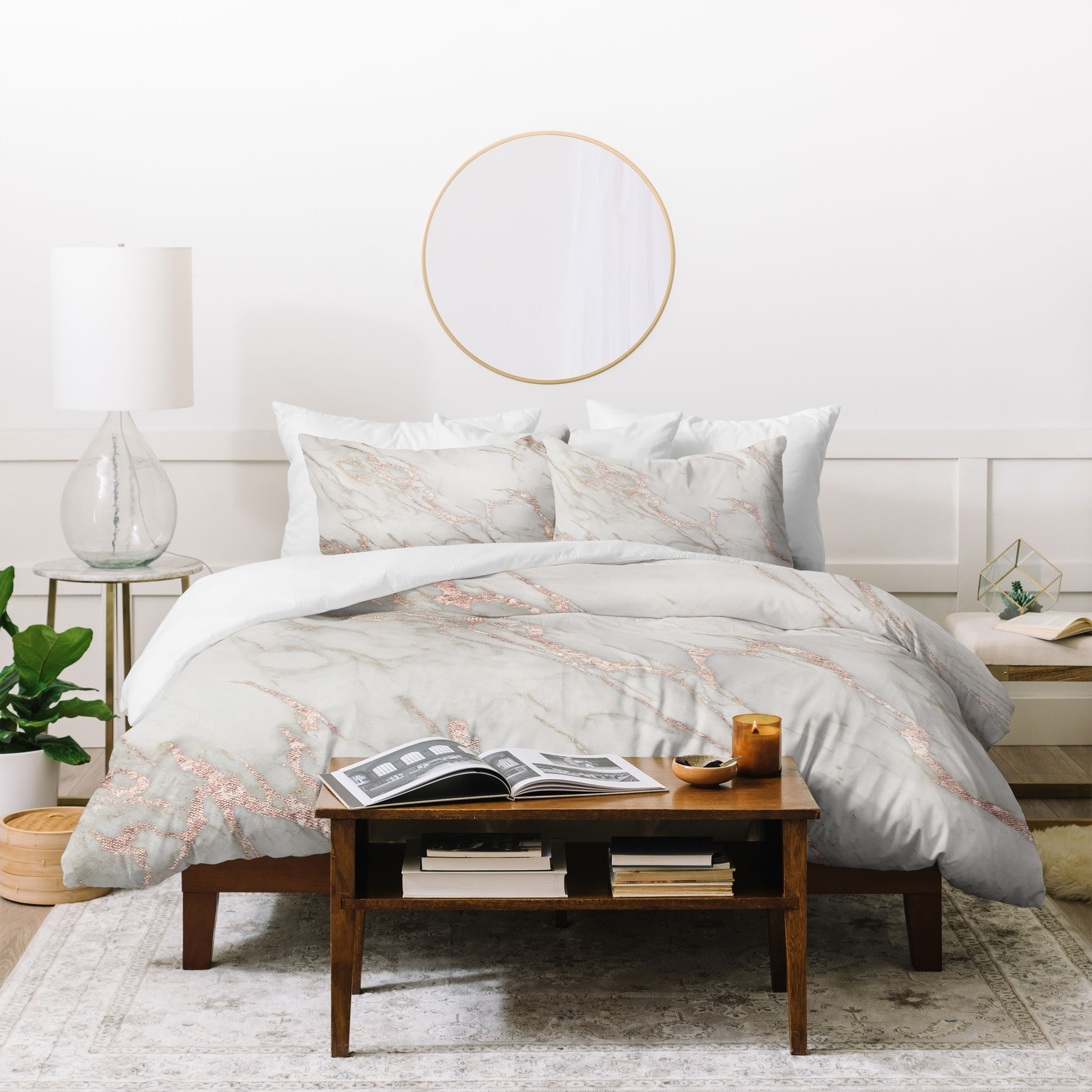 silver orchid sussin rose gold marble duvet cover set