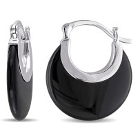 Shop Miadora Sterling Silver Black Onyx Hoop Earrings