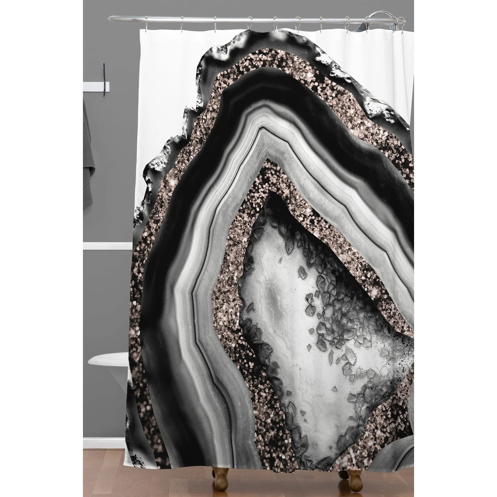 deny designs agate rose gold glam shower curtain