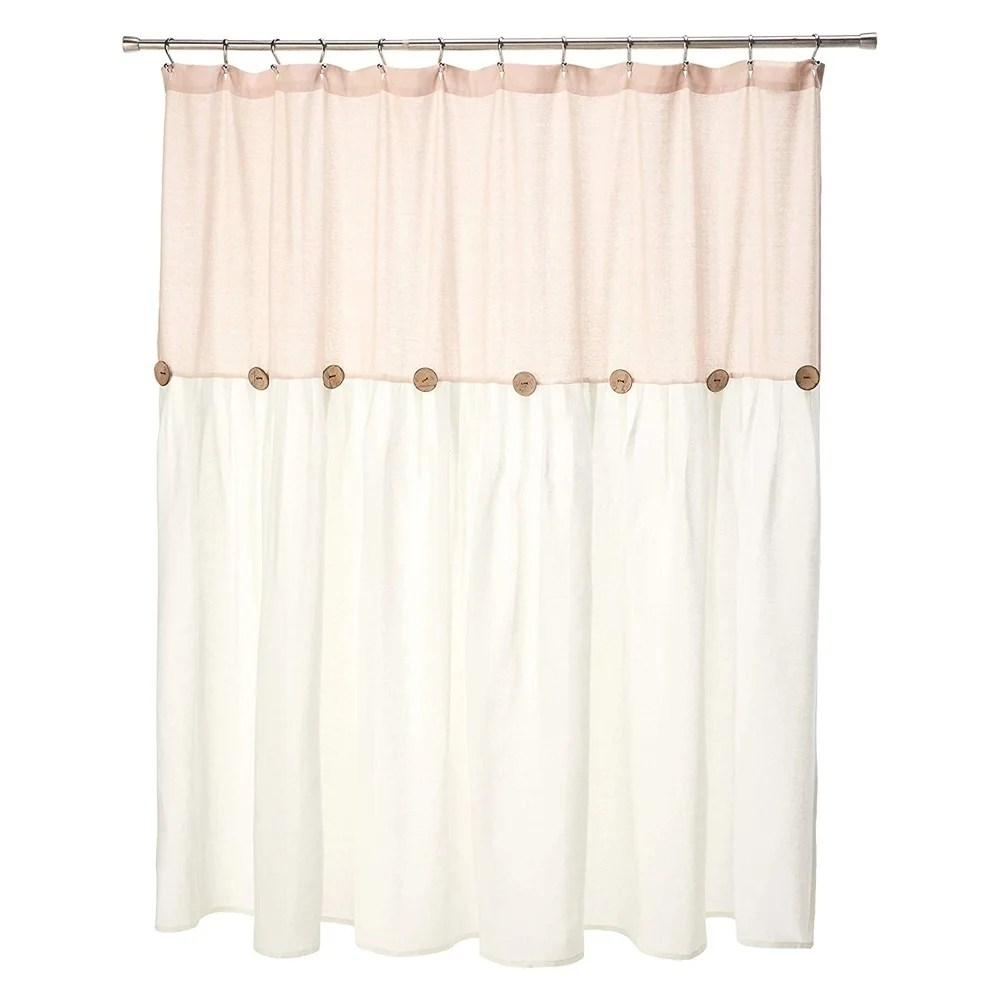 cotton button shower curtain blush and white 72 x 72